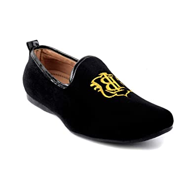 a5c297bb37 BERKINS Men s Black Trendy Stylish Design Synthetic Velvet Embroidered  Casual Formal Slip-On Loafer Shoes  Buy Online at Low Prices in India -  Amazon.in