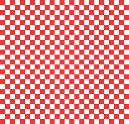 Wax Paper Food Basket Liners - Deli / BBQ Sandwich Wrap - Red / White Checkered - 50 Square Sheets 12x12
