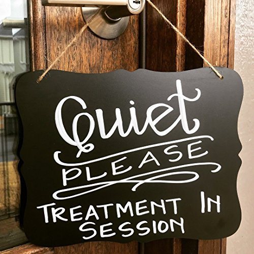 Quiet Please hanging chalkboard sign   Quiet Please: Treatment in Session   Salon, Spa, Therapy, Treatment decor   Waiting room
