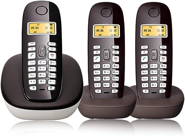 Qi Tai teléfono fijo Teléfono inalámbrico digital, teléfono pequeño, teléfono fijo en el hogar, walkie-talkie manos libres con retroiluminación de la pantalla de la línea de la oficina uno para tres d: