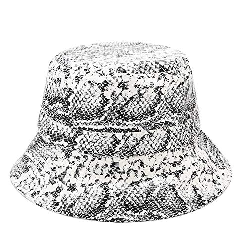 (HYIRI Anti-Wearing Baseball Cap Men Women Snakeskin Pattern Double-Sided Wearing Visor Folding Basin Fishing Hat White)