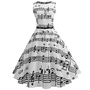 Serzul_Dress Serzul Women Vintage Printing Bodycon Sleeveless Casual Evening Party Prom Swing Dress (White,