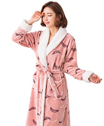 074747be1d95 Doneipa Cute Banana Long Fleece Soft Winter Pajama Womens Flannel Robes  Pink Medium