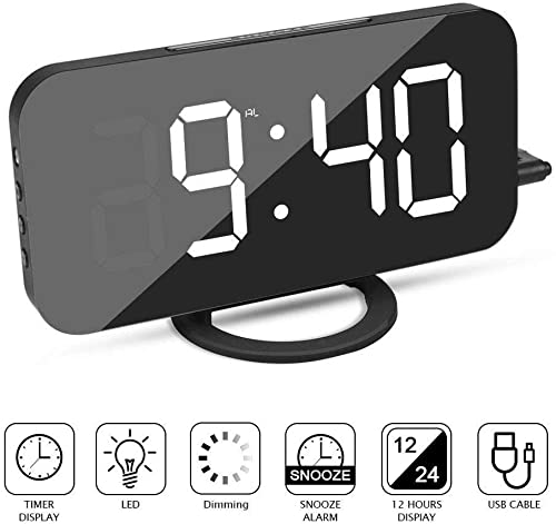YSD Alarm Clock, Mirror Surface Clock with Dual USB Port, Large 6.5 LED Easy-Read Night Light Dimmer Display with Snooze Function, Brightness Adjustable, Digital Clock for Bedroom, Living Room