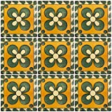 Ceramic Talavera Mexican Tile 4x4'', 9 Pieces (NOT Stickers) A1 Export Quality! - EX138