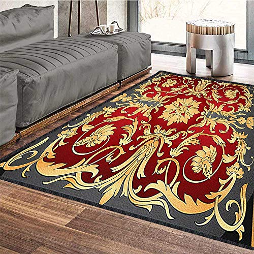 Turkish Pattern Anti-Skid Area Rug,Ottoman Spiral Foliage Pattern Frame Filigree Style Royal and Retro Provides Protection and Cushion for Floors Ruby Mustard Black 71