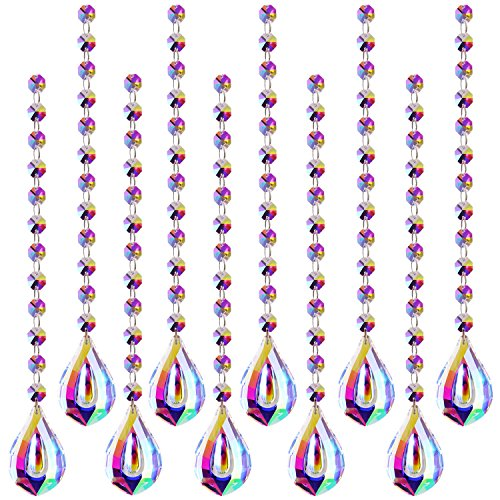 Fushing 10Pcs 1ft Color Crystal Strands, Hanging Crystal Beads Chain Garland, Crystal Chandelier Pendants Parts Glass Beads (AB Color) - Ab 14mm Crystal Beads