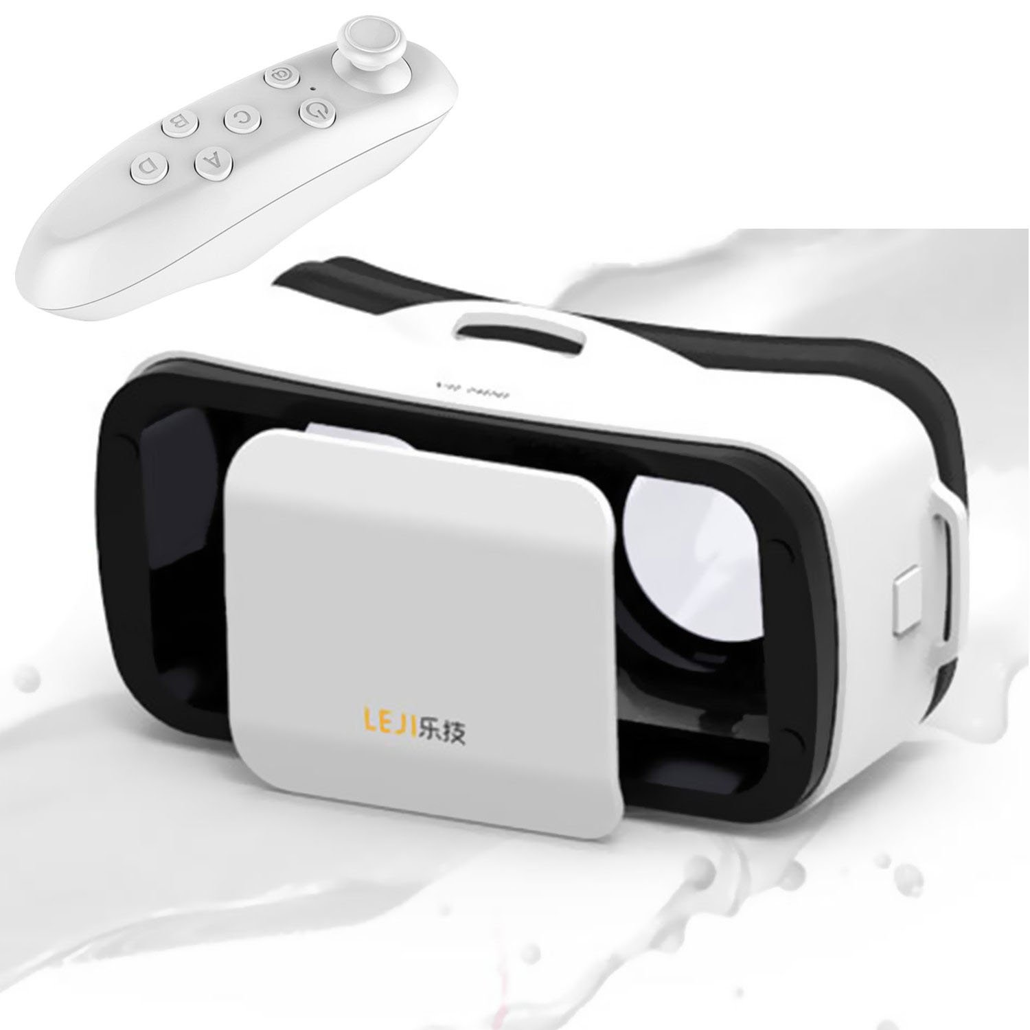 Mini 3D VR Glasses/Headset, Tsanglight Virtual Reality Headset + Remote Controller for IOS iPhone 7/6/6S Plus, Android Samsung Galaxy S7 Edge S7/6 /J7/A5/A3 2016 & Other 4.5-5.5'' Cellphone - White