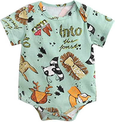 Cotton Newborn Kids Baby Boy Girl Bodysuit Romper Jumpsuit Cartoon Clothes 6M-3T