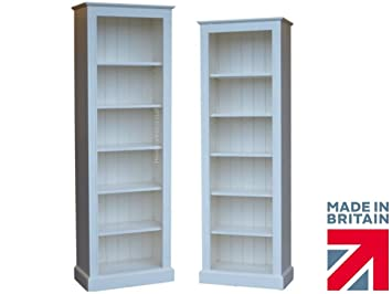 Traditional White Painted Bookcase, 6ft x 2ft Solid Wood Tall Narrow  Bookshelf with Adjustable Display