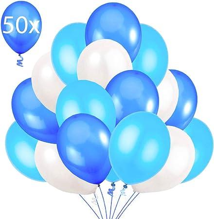 50 Globos Azul Blanco y Turquesa Brilante de 36 cm. Globos de Látex de 3,2g. por Helio. Decoraciones y Accesorios para Fiesta de Cumpleaño y Bautizo: Amazon.es: Hogar