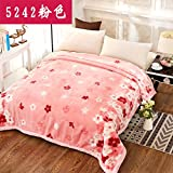 Double thick Soft fleece blanket blanket encryption is not hair does not play ball blanket thick autumn and winter double bunk ,150x200cm (4 pounds) Double thick ,5242- Pink
