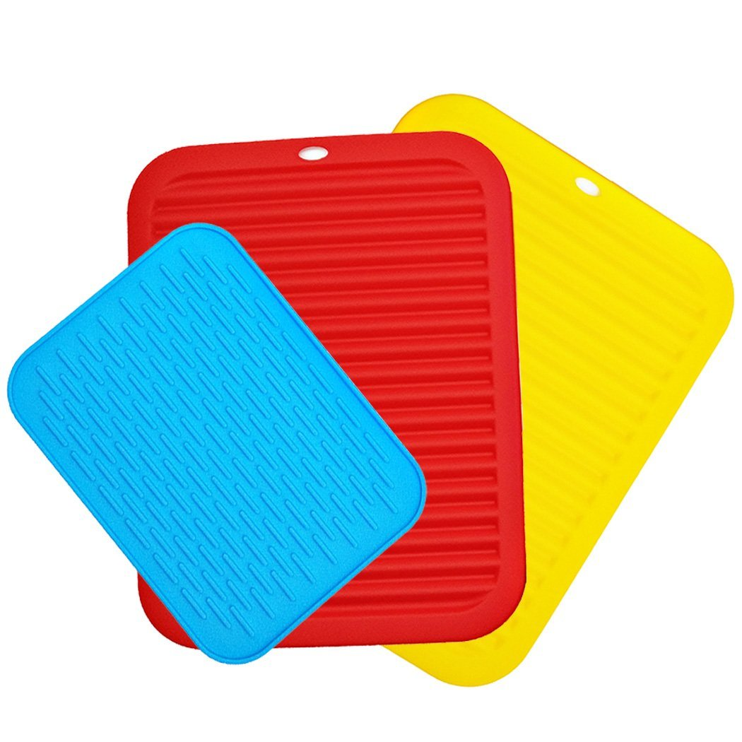 3 Packs Silicone Potholders, ANIN 8.5'' 12'' Flexible Trivets Drying Mats Hot Pads Coasters Heat Resistant Non-slip Flexible for Hot Pod Baking Pan Plate Tableware - Blue, Red, Yellow