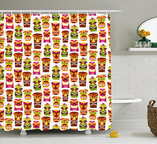 Ambesonne Tiki Bar Decor Shower Curtain, 60's Retro Inspired Cute Hawaiian Party Happy Tiki Statues Pattern Colorful, Fabric Bathroom Decor Set with Hooks, 84 Inches Extra Long, Multicolor -