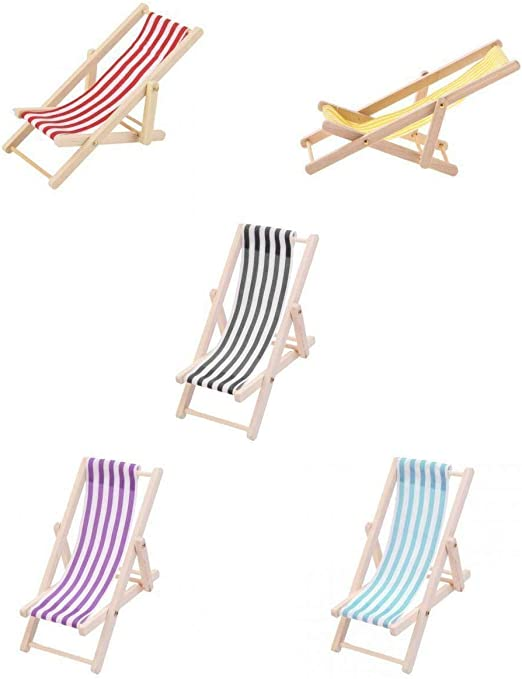 5pcs Mini Foldable Striped Wooden Lounge Chairs for 1//12 Dollhouse Furniture Accs