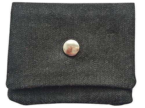 Leesha WILDe Upcycling Portemonnaie aus Stoff Sterne Beige Schwarze Jeans brMlM
