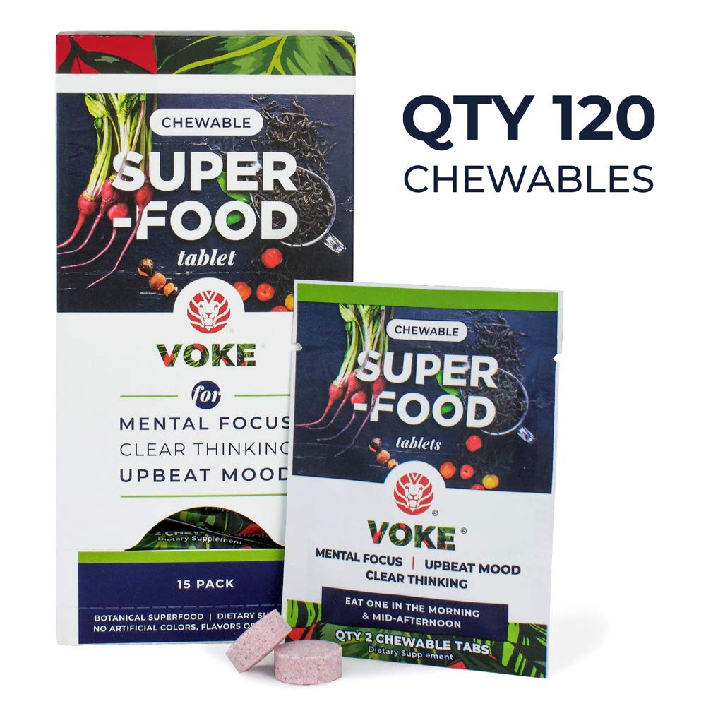 Voke Superfood | Memory, Focus, and Mental Clarity Supplement | 120 Chewable Natural Mental Energy Tablets with Vitamin C Antioxidants and Micronutrients