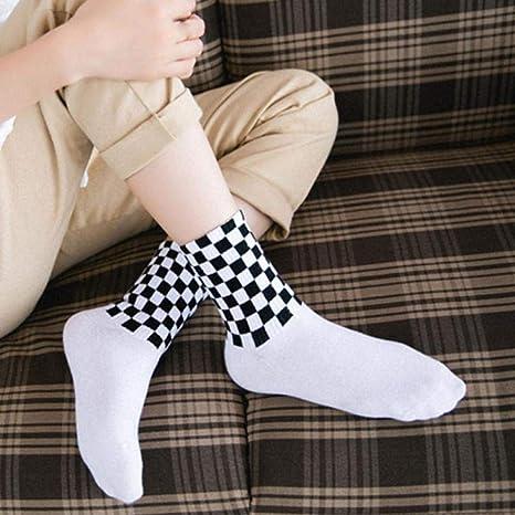 LJSDLSN Calcetines para Hombres Calcetines A Cuadros Calcetines Calcetines Largos De Algodón Unisex Calcetines Cuadrados Blancos Y Negros De Skateboard 1 Paquete De 5 Pares: Amazon.es: Deportes y aire libre