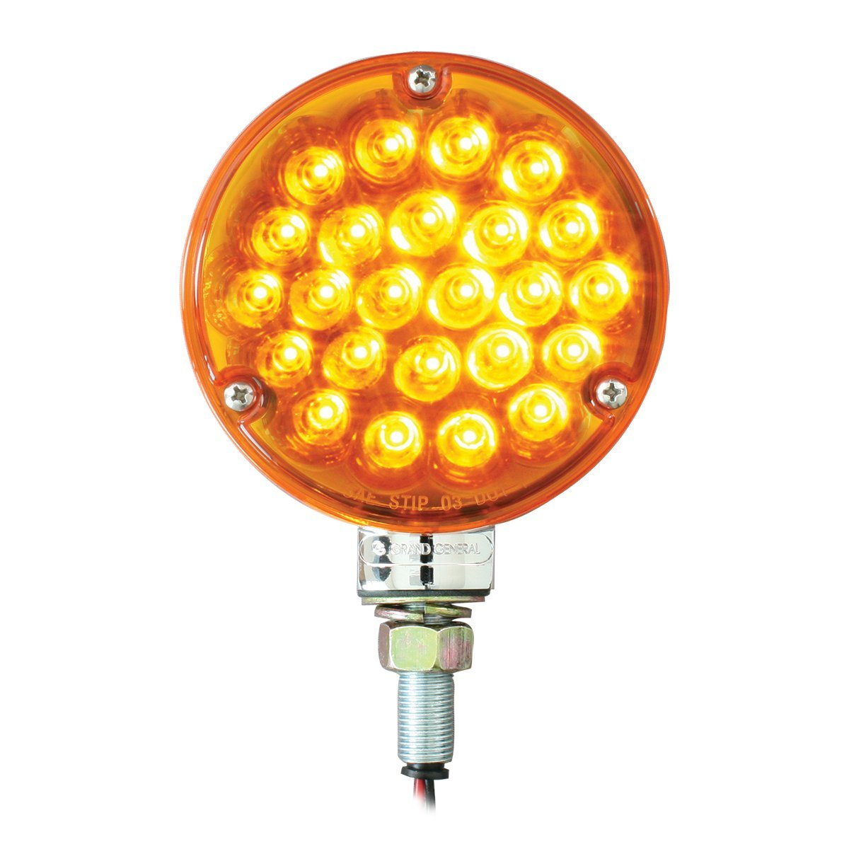 GG Grand General Grand General 78350 4'' Single Faced Pearl 24 LED Sealed Pedestal Light with Amber Lens