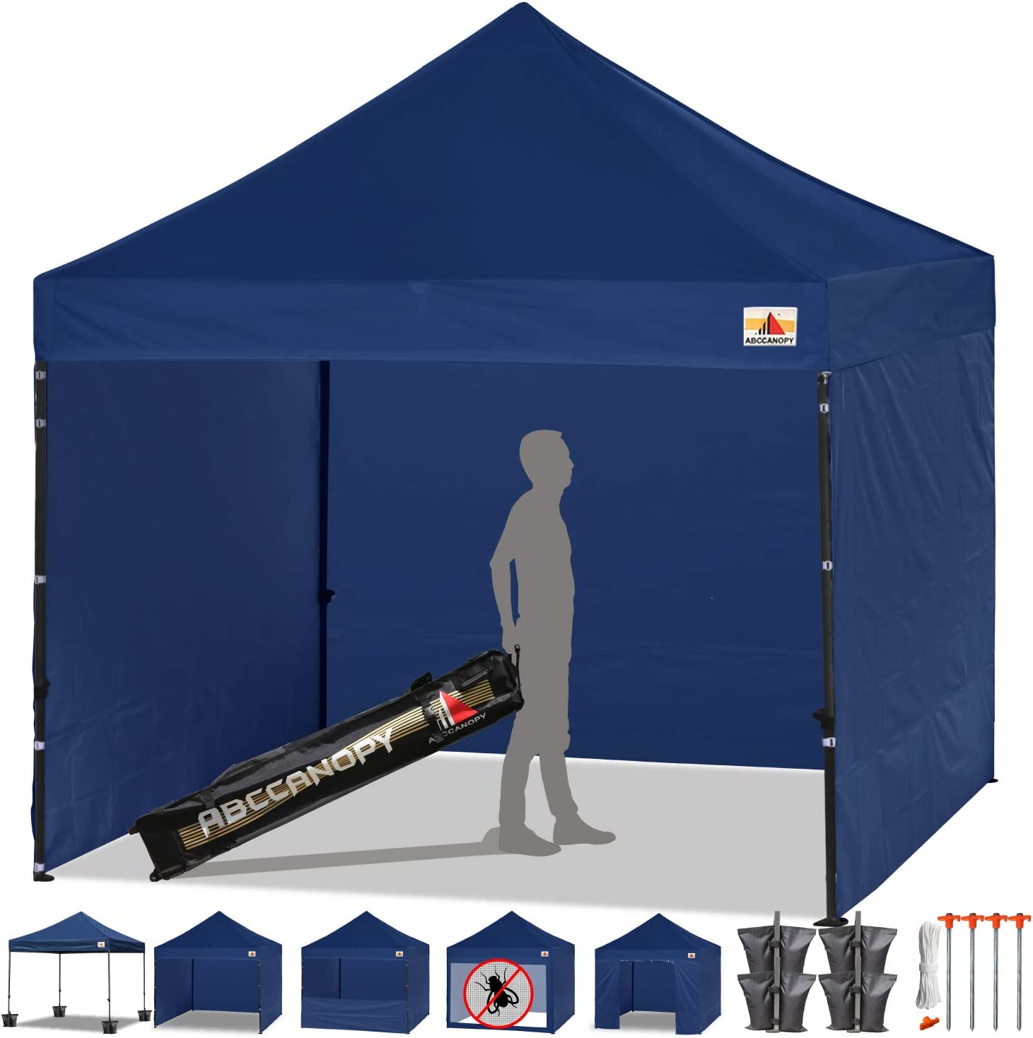 ABCCANOPY Canopy Tent Popup Canopy 10×10 Pop Up Canopies Commercial Tents Market stall with 6 Removable Sidewalls and Roller Bag Bonus 4 Weight Bags and 10ft Screen Netting and Half Wall, Navy Blue