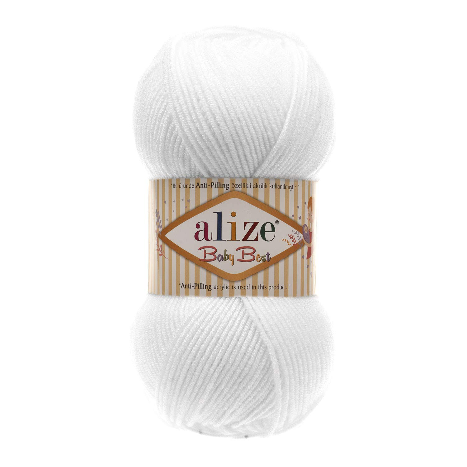 90% Acrylic Soft Wool 10% Bamboo Yarn for Hand Knitting Alize Baby Best Crochet Lace Embroidery Art Craft Sewing Kit Baby Blanket Yarn Lot of 4skn 400gr 1400yds Color 55 White