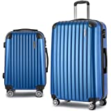 Wanderlite 2PCS Carry On Luggage Sets Suitcase Travel Hard Case Lightweight - Blue