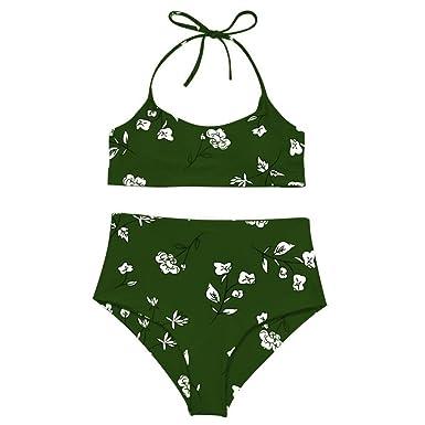3872d907b13 Amazon.com: Minisoya Women Flower Printed Swimwear Bikini Set Floral Bathing  Suit Bandage Push-Up Padded Swimsuit Beachwear: Clothing