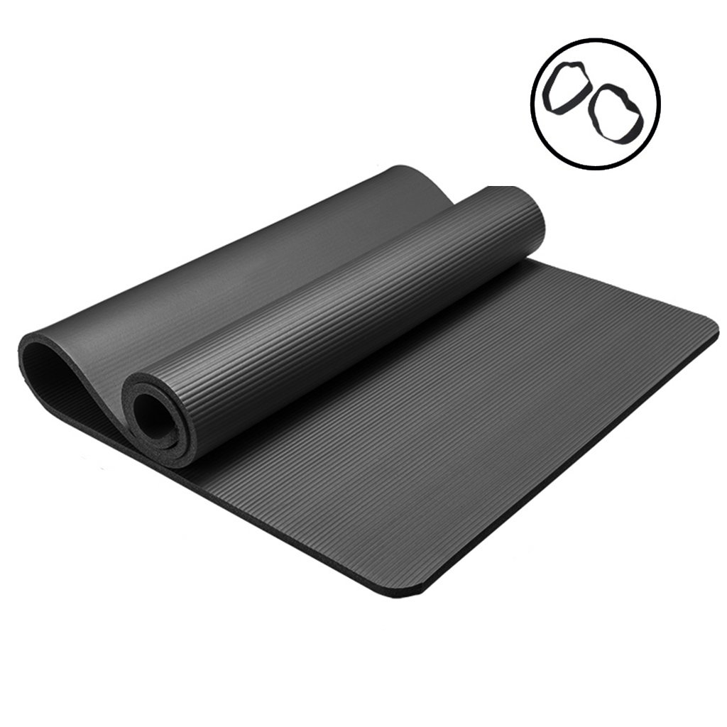 Black 801851.5cm Mats Nbr Rubber Yoga mat Thickening Fitness Camping Dance mat AntiSlip Game pad 31.5  72.8  0.4in Yoga (color   Purple, Size   80  185  1.5cm)