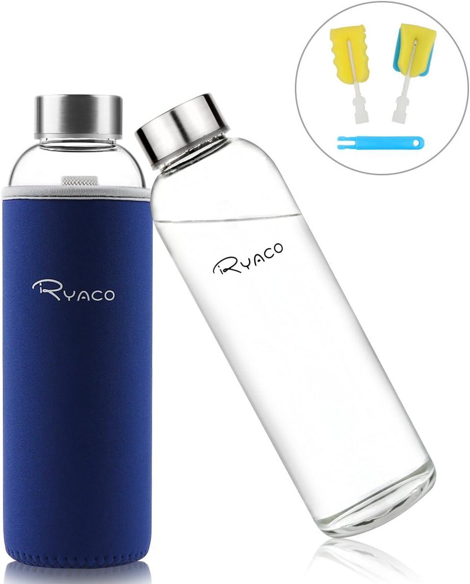Ryaco Botella de Agua Cristal 550ml, Botella de Agua Reutilizable 18 oz, Sin BPA Antideslizante Protección Neopreno Llevar Manga y Cepillo de Esponja
