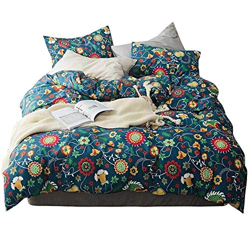 AMWAN Flower Print Floral Duvet Cover Set King 3 Piece Reversible Cotton Bedding Set Luxury Soft Vintage Duvet Comforter Cover Set 1 Duvet Cover with 2 Pillowcases Kids Girls Bedding Collection -