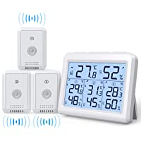 AMIR Indoor Outdoor Thermometer, 3 Channels Digital Hygrometer Thermometer with 3 Sensor, Humidity Monitor Wireless with…