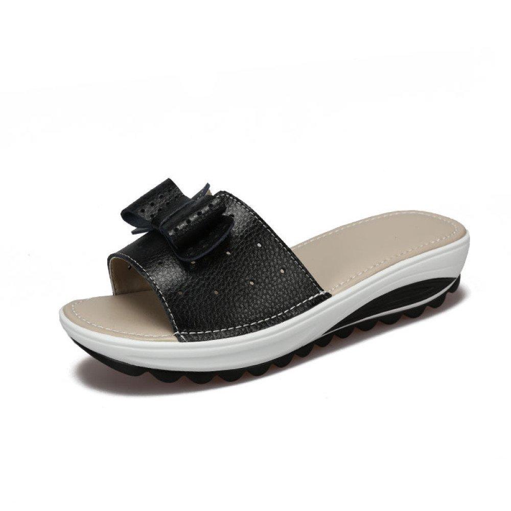 BFMEI Casual Damen Sandalen Wedges Flower Sandalen \u0026 Hausschuhe Plattformen Muffins \u0026 Schuhe  36 EU|Black