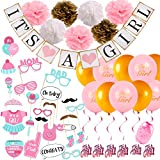 Baby Shower Decorations for Girl Set Pink Gold Theme Photo Booth Props It's A Girl Banner, Tissue Paper Flowers, Balloons with String, Swirls, Party Decorations All in One Bundle