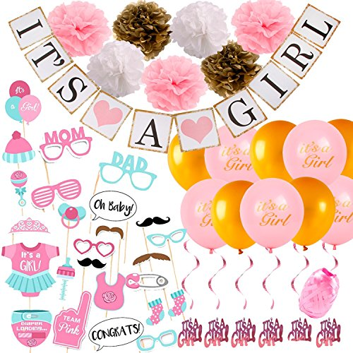 - Baby Shower Decorations for Girl Set Pink Gold Theme Photo Booth Props It's A Girl Banner, Tissue Paper Flowers, Balloons with String, Swirls, Party Decorations All in One Bundle