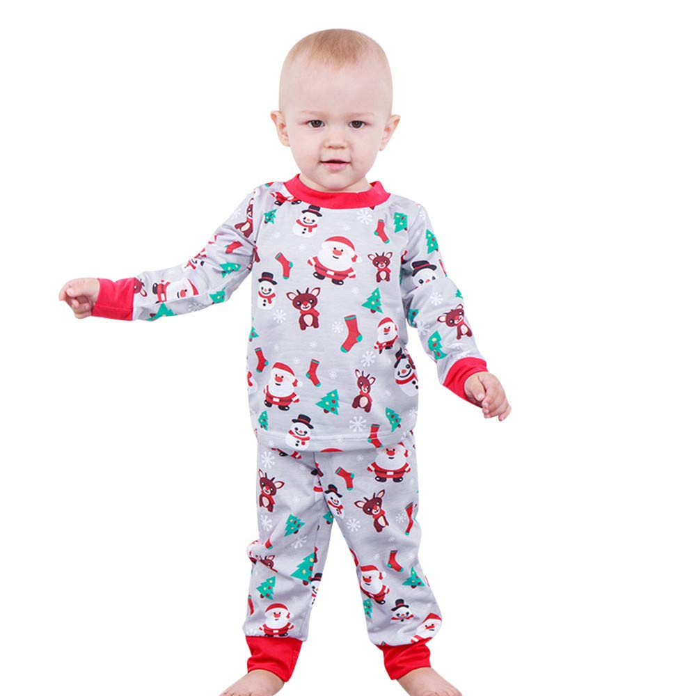 Toddler Infant Nightwear Christmas Costumes Cute Baby Boys Pyjamas Long Sleeve Santa Print Tops+Pants Outfits Kids Girls Sleepwear Homewear Sets