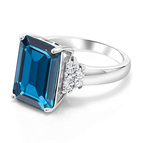 Gem Stone King London Blue Topaz 925 Sterling Silver Women s Ring 8.80 Ct Emerald Cut Gemstone Birthstone Available in size 5, 6, 7, 8, 9