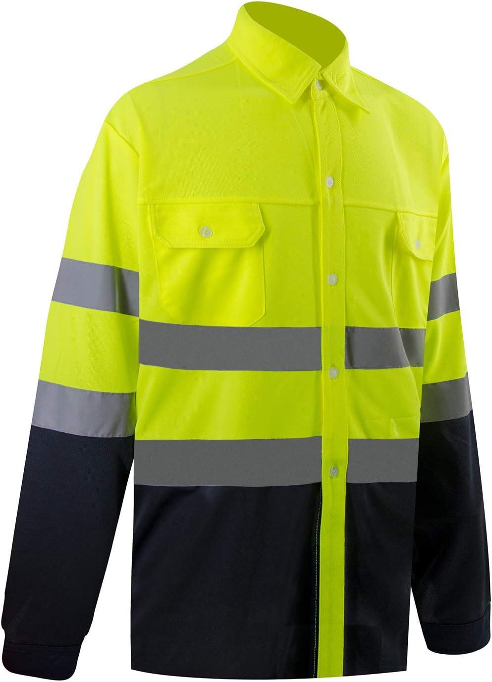 Camisas de seguridad para hombre, con bolsillos, clase 3, ANSI de alta visibilidad, ropa de seguridad de alta visibilidad para hombres, manga larga: Amazon.es: Bricolaje y herramientas