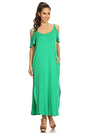 145aae5079c5 Women s Solid Casual Relax Fit Scoop Neck A-line Knit Maxi Dress ...