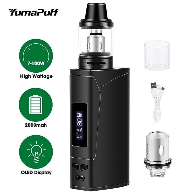 Cigarrillo electrónico Vaping Kit E-Cig Vapor E Cig Mod Kit YumaPuff Armor 100W Box Mod Starter, Recargable 2000mah OLED Screen Box Mod - Sin nicotina, ...