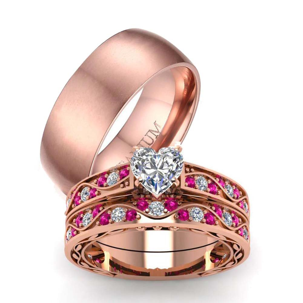 LOVERSRING Couple Ring Bridal Set His Hers Rose Gold Plated CZ Stainless Steel Wedding Ring Band Set