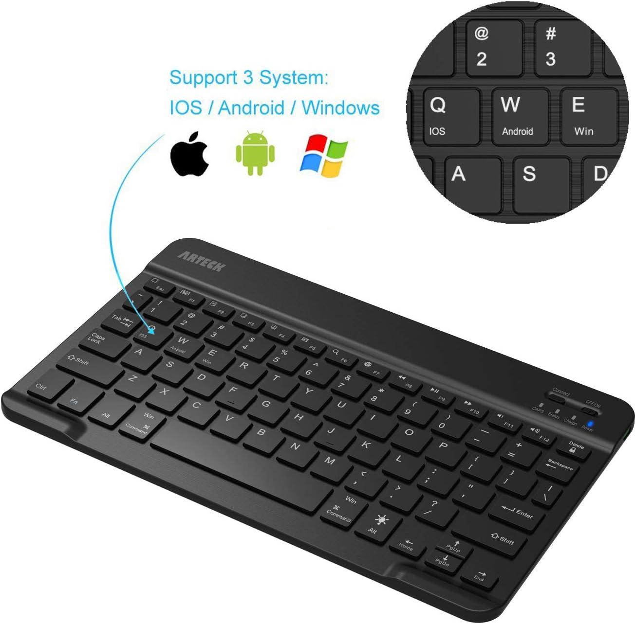 Arteck Universal Backlit 7-Colors & Adjustable Brightness Ultra Light & Slim Portable Wireless Bluetooth 3.0 Keyboard for iOS iPad Air, iPad Mini, ...