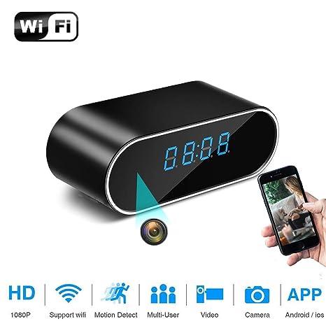HUAXING WiFi Reloj de Mesa Mini cámara 1080P HD IP P2P DVR videocámara Alarma Set visión