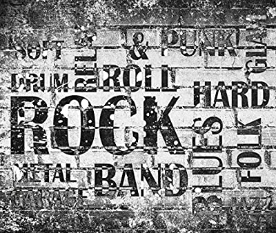 10.5-Feet wide by 9-Feet high. Prepasted robust wallpaper wall mural from photo of: Hard Rock Music. Our murals are easy to install remove and reuse if U do as in our video.