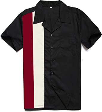 Candow Look Men Shirt Contrast Color Rockabilly Bowling Shirts ...