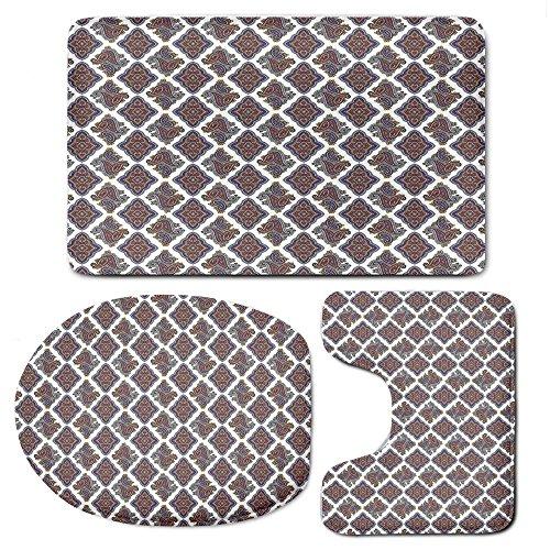 3 Piece Bath Mat Rug Set,Paisley,Bathroom Non-Slip Floor Mat,Wall-Paper-Like-Design-with-Ornamental-Floral-Classical-Tribal-Pattern-Image-Decorative,Pedestal Rug + Lid Toilet Cover + Bath Mat,Multi-Co