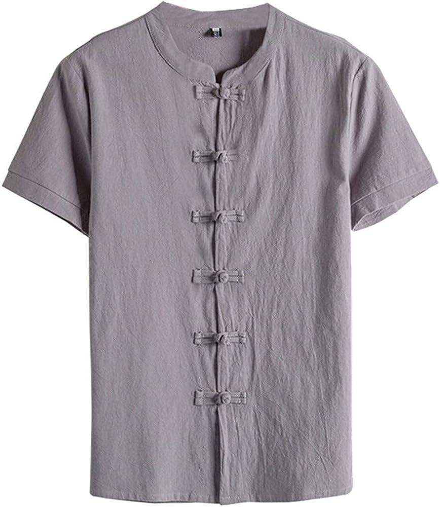 KUKICAT - Camiseta de Manga Corta para Hombre, Color Blanco, Cuello Mao, Talla Grande Gris XXL: Amazon.es: Ropa y accesorios