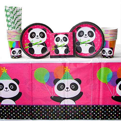 (Panda-Monium Party Supplies Pack for 16 Guests Includes: Straws, Dessert Plates, Beverage Napkins, Cups, and Tablecover (Bundle for 16))