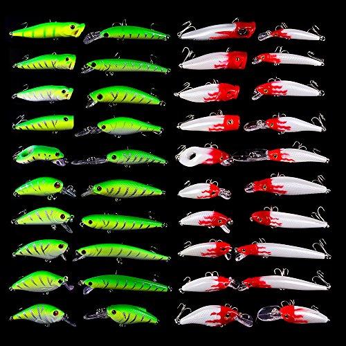 (Fishing Lures Tackle Kits Hard Baits Minnow Pencil VIB Crankbaits Topwater Floating Lures Assorted Fishing Tackle Sets (071-40pcs) )