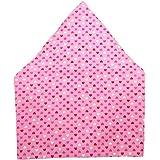子供が自分でかぶれる ゴム付き 子供用 三角巾 無地(紺・赤・ピンク・水色・格子柄水色・格子柄ピンク・白) (ピンクハート)