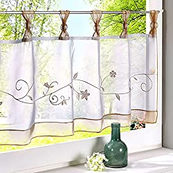 "Uphome 1pcs Cute Embroidered Floral Window Tier Curtain - Kitchen Tab Top Semi Sheer Curtain (36""W x 12""H, Sand)"